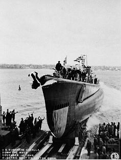 Launching the United States Submarine Cavalla